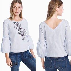 White House Black Market Embroidered Blouse: 2119
